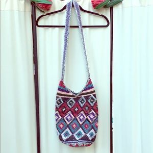 VINTAGE- CROCHETED LARGE HIPPIE BOHO PURSE